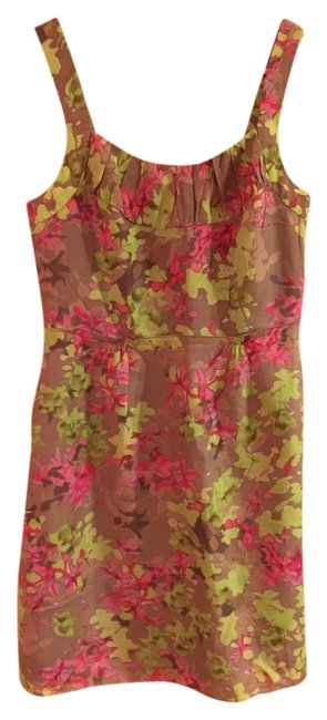 Banana Republic short dress brown and pink floral Shift Silk Cotton on Tradesy