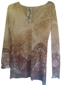 Code Vintage Shimmer Gold Sheer Sweater