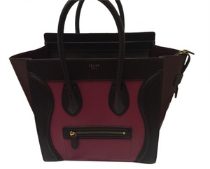 Preload https://item1.tradesy.com/images/celine-luggage-tote-mini-pink-and-burgundy-leather-satchel-3613435-0-0.jpg?width=440&height=440