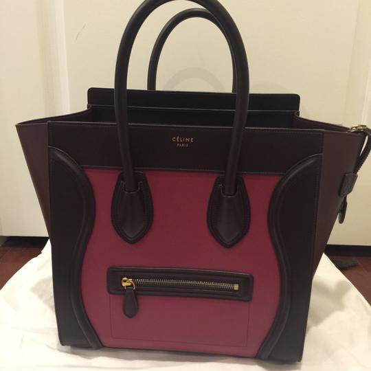 Céline Luggage Tote Tote It Leather Color-blocking Vintage Preown Satchel in Pink And Burgundy