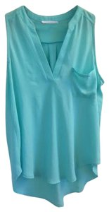 Lush Sheer High Low Button-down Top Green Aqua