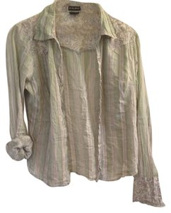 Fang Paisley Button Flash Sale Top Green
