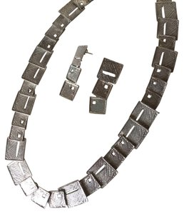 Fine Jewelry Vault Vintage GRAS Solid Silver Necklace With Matching Earrings
