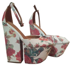 Jeffrey Campbell Rose Roses Pink Wedge Chunky floral Platforms