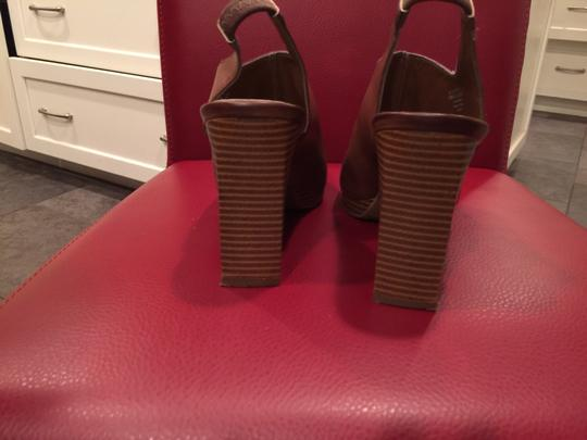 "Nickels Stack Heel 4"" Tan Sandals"