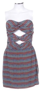 Mara Hoffman Strapless Multi Print Silk Cut Out Dress