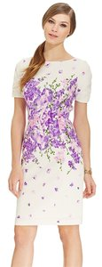 Adrianna Papell Floral Short Sleeve Sheath Dress