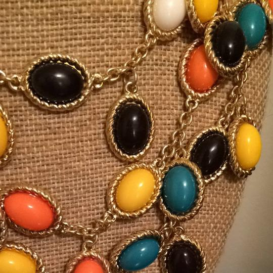 Spade Coral Yellow Black White And Teal Necklace