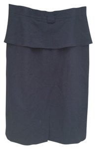 Balmain Classic Wool Pencil Peplum Skirt Black