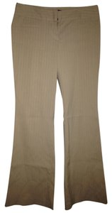 Express Tan W/white Stripe Flare Pants Beige