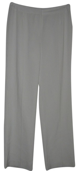 Kasper / Straight Pants White w/black pinstripes