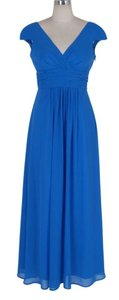 Blue Long Elegant Pleated Waist Mini Sleeves Size:lrg Dress