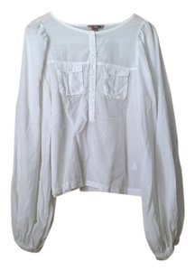 H&M Victorian Puffed Sleeve Top White