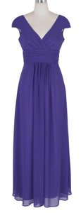 Purple Long Elegant Pleated Waist Mini Sleeves Dress