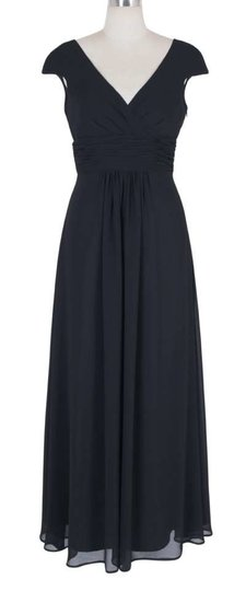 Black Chiffon Long Elegant Pleated Waist Mini Sleeves Casual Bridesmaid/Mob Dress Size 8 (M)