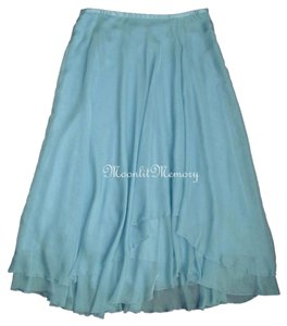 Soft Surroundings Maxi Long Full Length Chiffon Maxi Skirt Blue