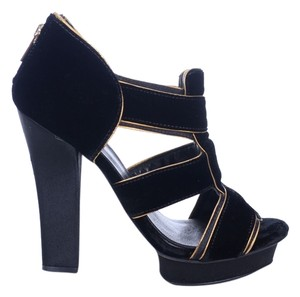 Tory Burch Black Velvet Carsonie Open Toe Heels Platforms