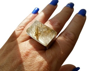 Battistoni Batti italian jewelry silver and rutilated quartz large cocktail ring