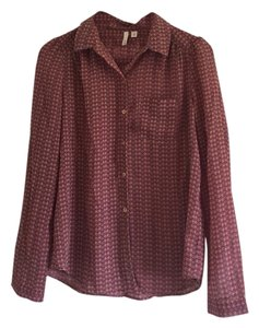 Frenchi Button Down Shirt Rose/brown