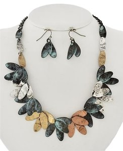 DaVinci Tri-tone Patina Necklace & Earring