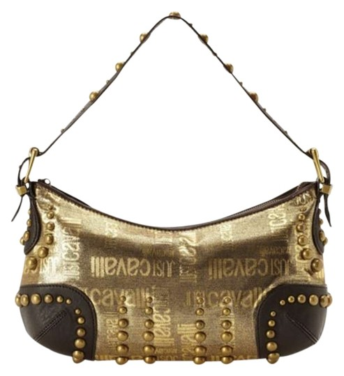 Preload https://item2.tradesy.com/images/just-cavalli-studded-gold-canvas-and-leather-shoulder-bag-361581-0-0.jpg?width=440&height=440
