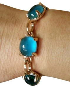 Rina Limor Rina Limor fine jewelry sterling silver yellow gold plate blue topaz bracelet 7