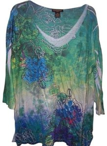 Susan Lawrence Top blue, green, turquoise, purple,