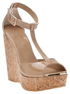 Jimmy Choo Cork Wedge Sandals nude Wedges