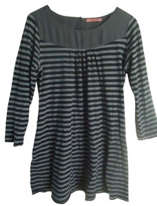 Anthropologie short dress Gray Cotton Knit Striped Jersey Mini on Tradesy