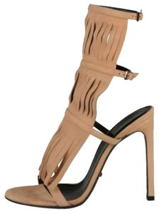 Gucci Fringe Suede Becky Nude Sandals
