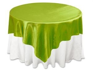 2 Sage Satin Table Overlays 72