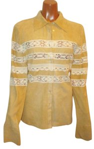 Joie Suede Lace Lace Trim Chamois Yellow Beige Leather Jacket