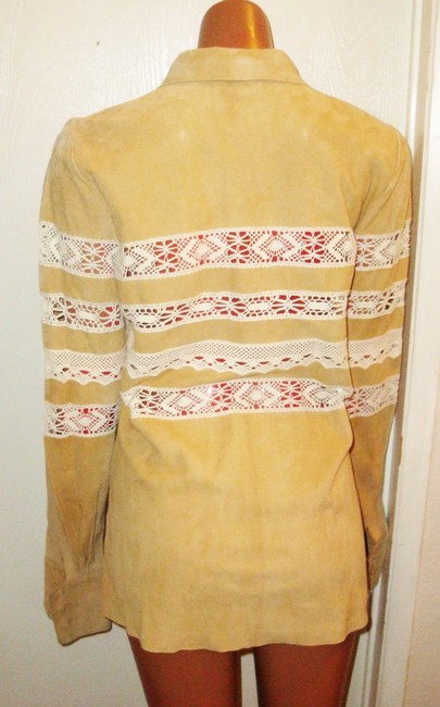 Joie Suede Lace Lace Chamois Yellow Beige Leather Jacket