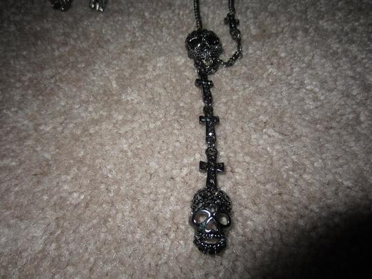 Hot Topic Crosses & Skull Necklace, Earrings Bone & Skull