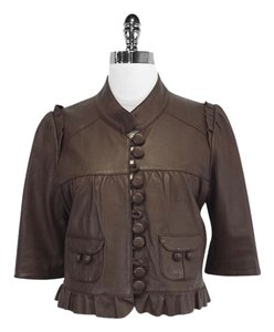 Madison Marcus Chocolate Brown Cropped Leather Jacket