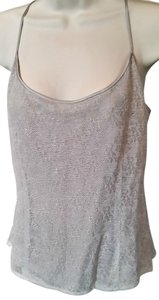 Finity Layered Linen Side Zipper Floral Knit Layered Top Gray