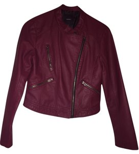 Forever 21 Leather maroon Leather Jacket