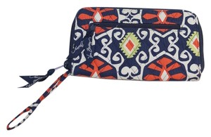 "Vera Bradley Vera Bradley Sun Valley Navy Blue Orange Lime Green Quilted Cotton 8x5"" Organizer Zipper Wallet"