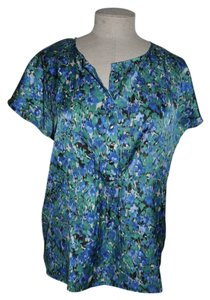 Talbots Watercolor Dolman Top Blue
