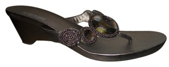 Kenneth Cole Reaction Faux Leather pewter Sandals