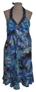 Ice short dress Blue World Print Halter Resort Empire Waist Beaded on Tradesy