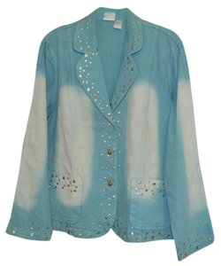 DG2 by Diane Gilman Turquoise Womens Jean Jacket