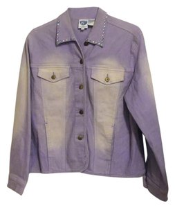 DG2 by Diane Gilman Purple Womens Jean Jacket