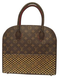 Louis Vuitton Limited Edition Studded Tote in Monogram and red