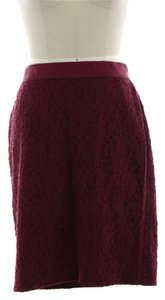 Ann Taylor Lace Cotton Wine Skirt Maroon