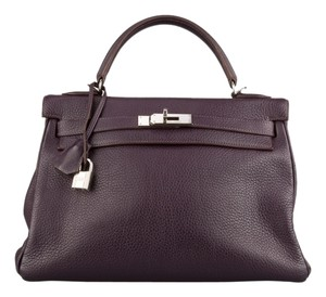 Hermès Kelly Clemence Palladium Retourne 28cm Tote in Raisin