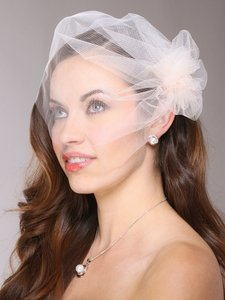 Mariell White Short Tulle Birdcage Cap with Side Pouf & Stamen Accents 3908v-w Bridal Veil