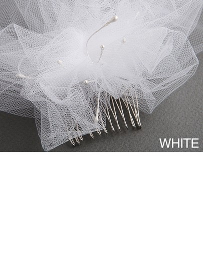 Mariell White Short Tulle Birdcage Cap with Side Pouf & Accents 3908v-w Bridal Veil