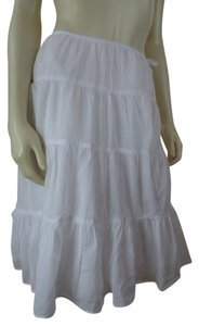 Talbots Boho Peasant Tiered Skirt White