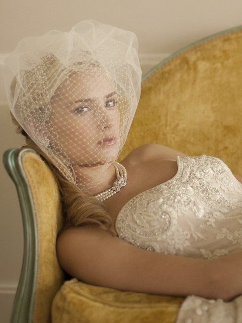 Item - White Birdcage W -layer Ivory with French Netting and Row Of Tulle 4108v-w Bridal Veil